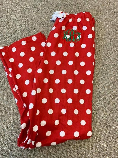 Flannel Pant - Red Polka Dot