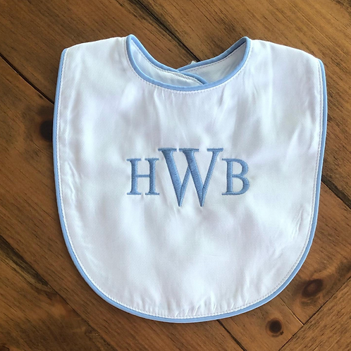 White Bib with Blue Piping