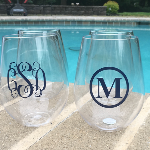 4 Acrylic Stemless Wine Glasses