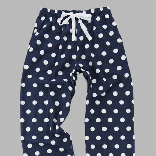 Flannel Pants - Navy Polka Dot