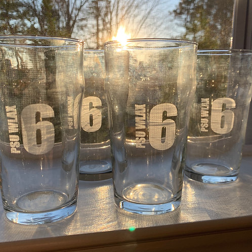 Set of 4 Pub Glasses etched with PSU WLAX