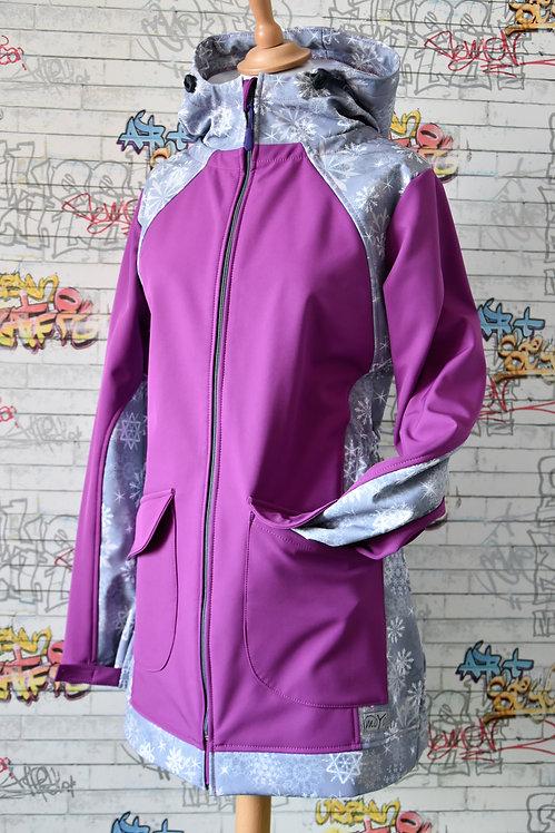 Softshellová bunda Fialová/Vločky