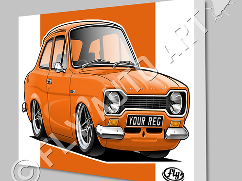 MK1 FORD ESCORT 1600GT CANVAS AND POSTER - CHOICE OF COLOURS