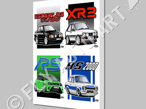 MULTI CAR CANVAS OR POSTER - YOUR CHOICE OF 4 DESIGNS