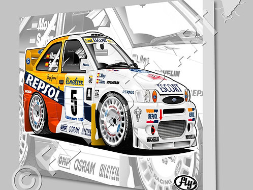 1997 REPSOL FORD ESCORT COSWORTH WRC CAR- CANVAS AND POSTER