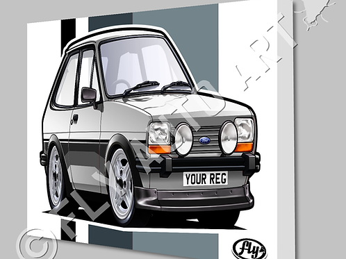 MK1 FORD FIESTA SUPER SPORT GREY STRIPES CANVAS OR POSTER - CHOICE OF COLOURS