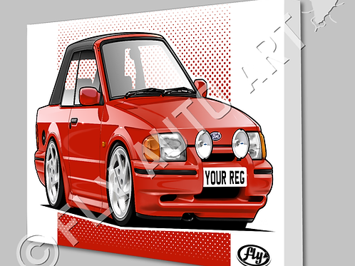 FORD ESCORT XR3i CABRIOLET CANVAS OR POSTER - CHOICE OF COLOURS