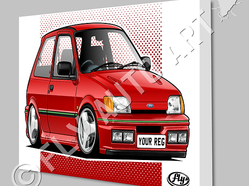FORD FIESTA RS TURBO CANVAS AND POSTER - CHOICE OF COLOURS