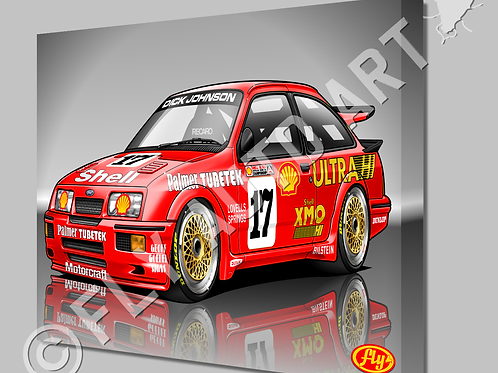 FORD SIERRA RS500 COSWORTH SHELL RACECAR - CANVAS AND POSTER -
