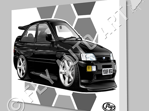 FORD ESCORT COSWORTH CANVAS AND POSTER - CHOICE OF COLOURS