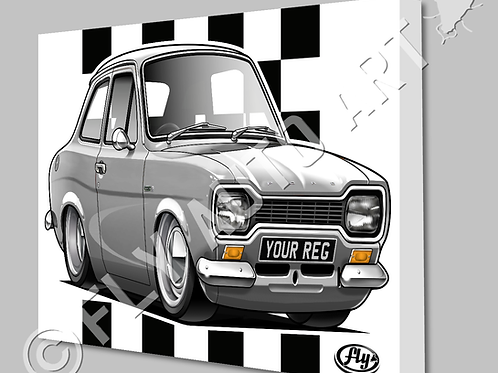 MK1 FORD ESCORT TWIN CAM CANVAS AND POSTER - CHOICE OF COLOURS