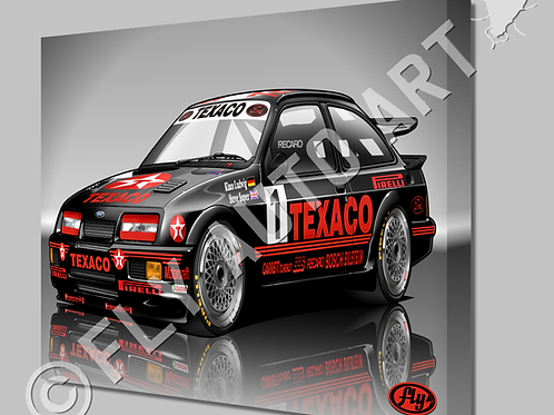 FORD SIERRA RS500 COSWORTH TEXACO RACECAR - CANVAS AND POSTER -
