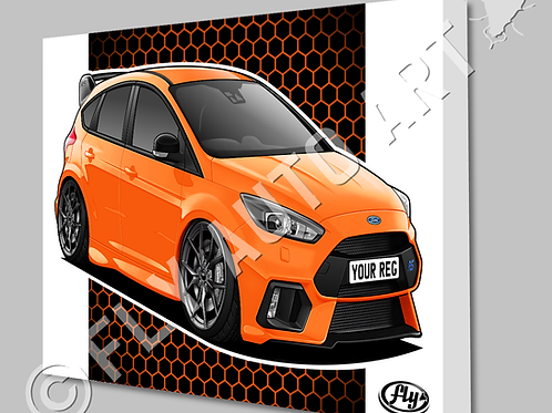 FORD FOCUS MK3 RS EDITION HERITAGE ORANGE CANVAS OR POSTER