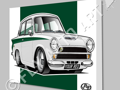 FORD LOTUS CORTINA CANVAS AND POSTER - CHOICE OF COLOURS