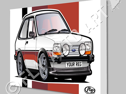 MK1 FORD FIESTA SUPER SPORT RED STRIPES CANVAS OR POSTER - CHOICE OF COLOURS