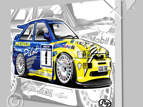 MICHELIN PILOT FORD ESCORT COSWORTH RALLY CAR- CANVAS AND POSTER -