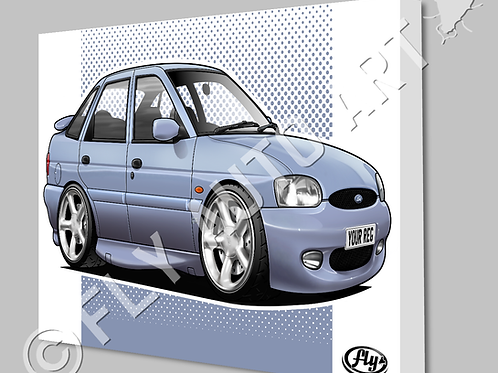 FORD ESCORT MK6 GTI CANVAS AND POSTER - CHOICE OF COLOURS