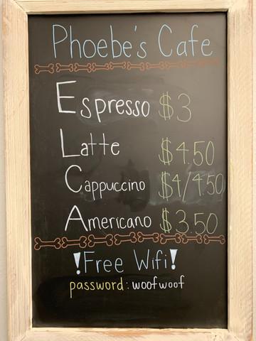 Phoebe's Cafe menu