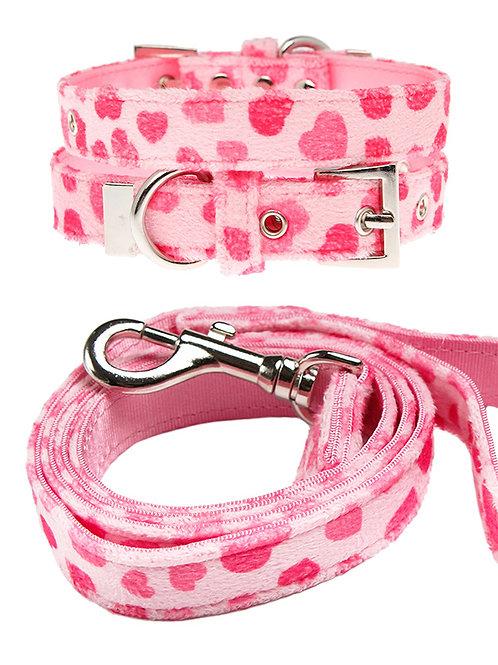 PinkHearts Fabric Collar & Lead Set