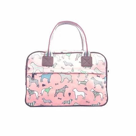 Dog Print Canvas Weekend Bag in Pink.web