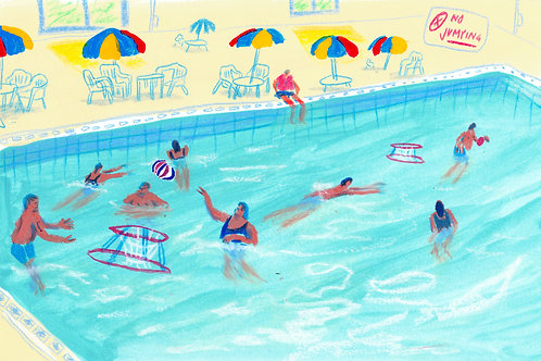 """Pool Fun"" Original Painting"