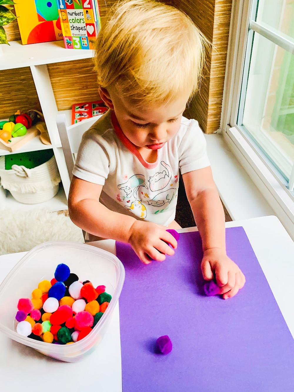 pom pom color sort for toddlers