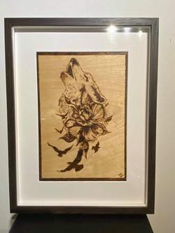 pyrography wood burnt art framed