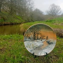 River Cober platter ceramic art winter frosty scene coloured slip plate
