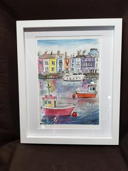 Cornwall Cornish harbour watercolour ink originals