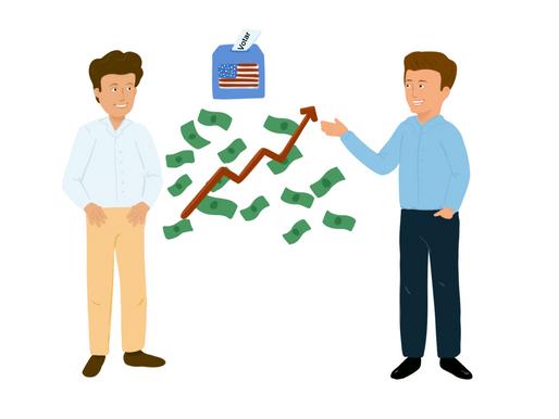 Dos jóvenes que invirtieron en dólares durante las elecciones de EUA
