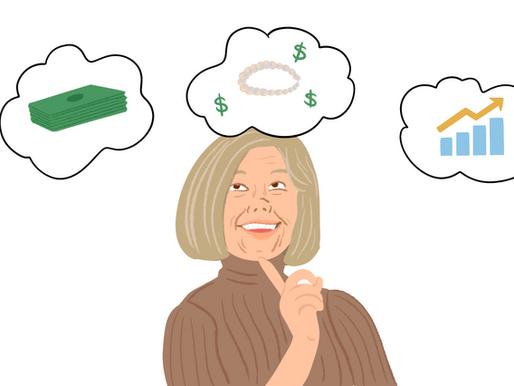 Una señora mayor que no sabe qué hacer con su aguinaldo