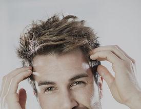 closeup portrait of an handsome man exam