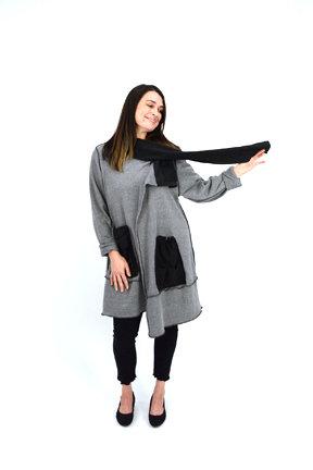grey front view, jacket, tunic, fleece blend, casual wear