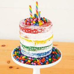 rainbow naked cake