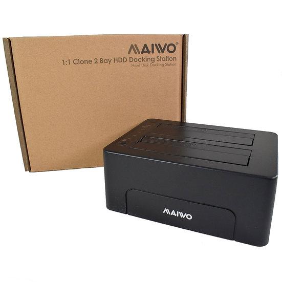"Maiwo Dual Bay 2.5"" & 3.5"" USB 3.0 Hard Drive Dock and Clone"