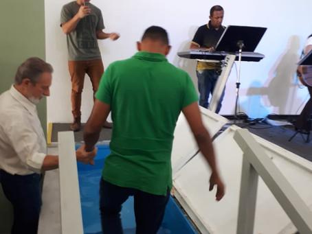 A comemoração do batismo do Wagner: duas vezes família