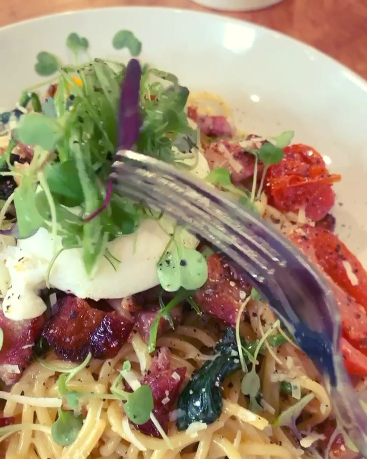Breakfast pasta- close up