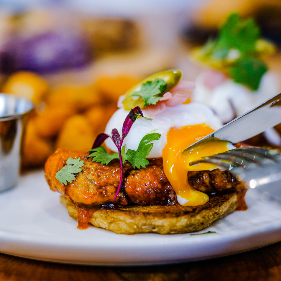 Twice cooked pork belly benny