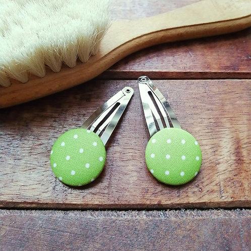 Frau Rosmarin Haarspange handgemacht Set grün Punkte