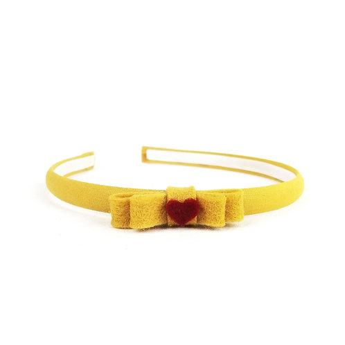Frau Rosmarin Haarreifen für Mädchen gelb Herzchen