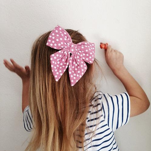 Haarschleife für Mädchen Musselin rosa Punkte