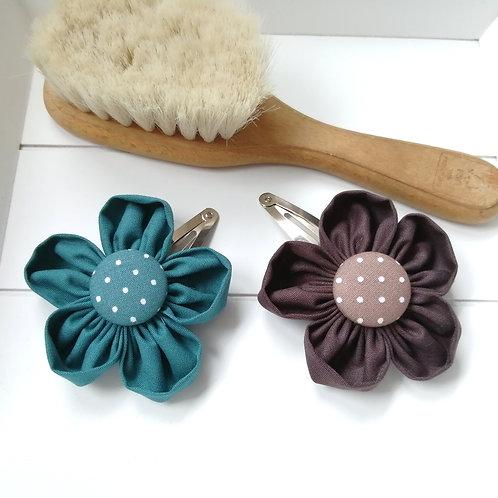 Haarspange Blumen petrol braun