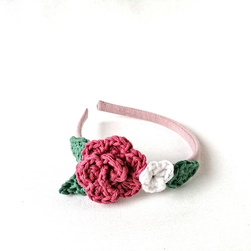 Haarreifen für Mädchen mit Blume gehäkelt Frau Rosmarin