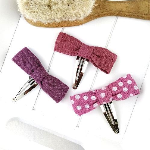 Haarschleife Musselin | 3-er Set | beere