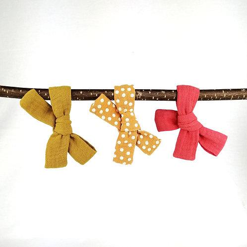 Haarschleife für Kinder | Musselin | senfgelb, koralle, gelb Punkte