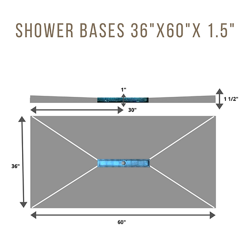 "Shower Base 36""x60""X1.5"" (24""Linear Drain in center)"