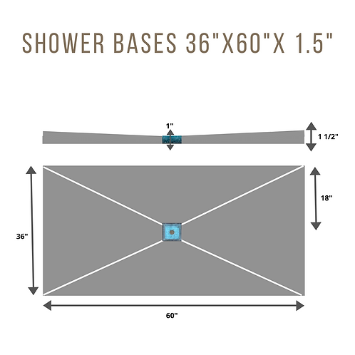 "Shower Base 36""x60""X1.5"" (6""Square Drain in center)"