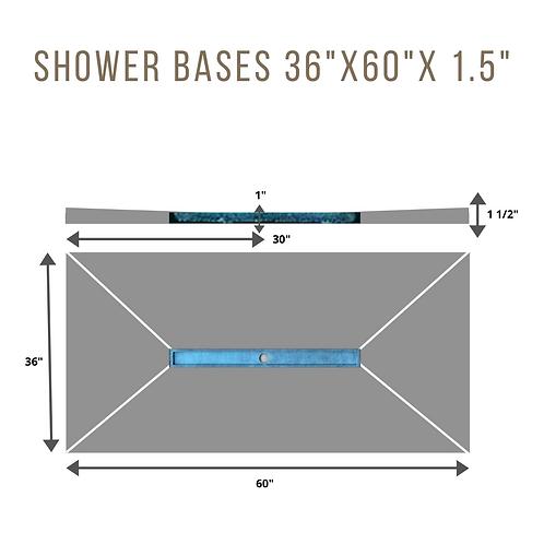 "Shower Base 36""x60""X1.5"" (36""Linear Drain in center)"
