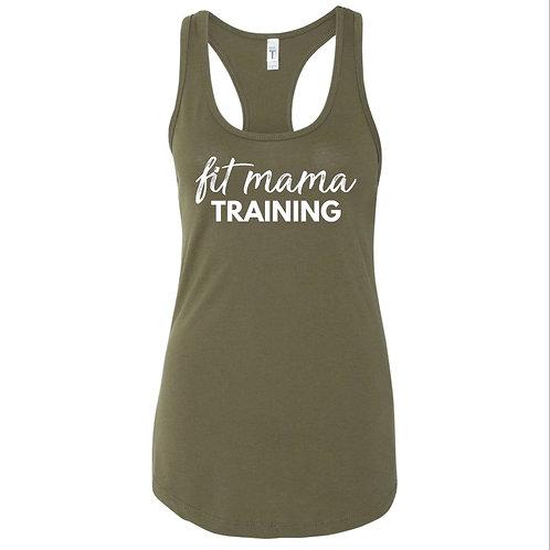 Army Green Fit Mama Racerback Tank