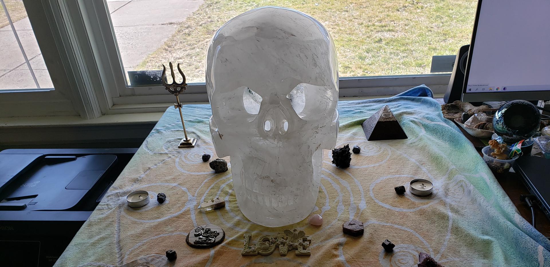 49 pound hollow quartz skull